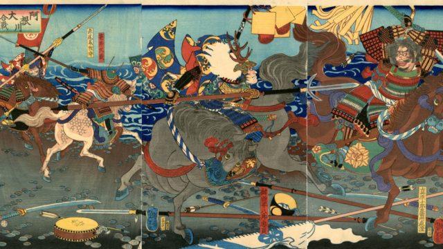 『阿根川大合戦之図』月岡芳年画