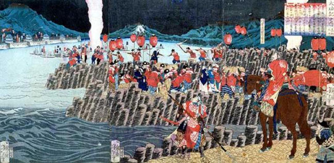 『高松城水攻築堤の図』月岡芳年画