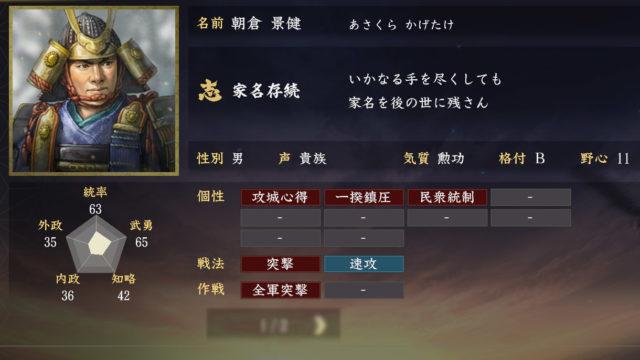 朝倉景建能力【信長の野望大志】
