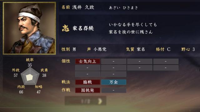 浅井久政能力【信長の野望大志】