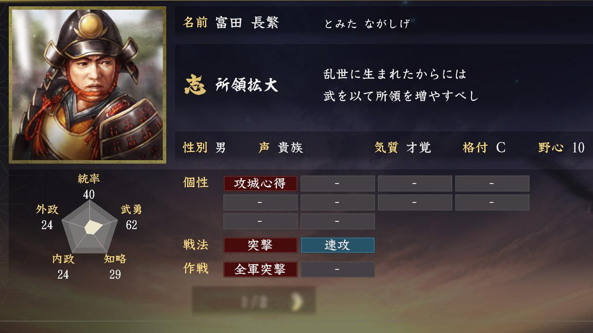 富田長繁能力【信長の野望大志】