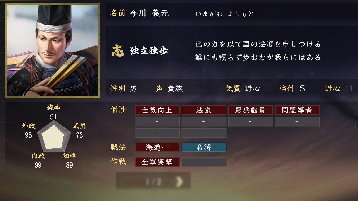 今川義元能力【信長の野望大志】