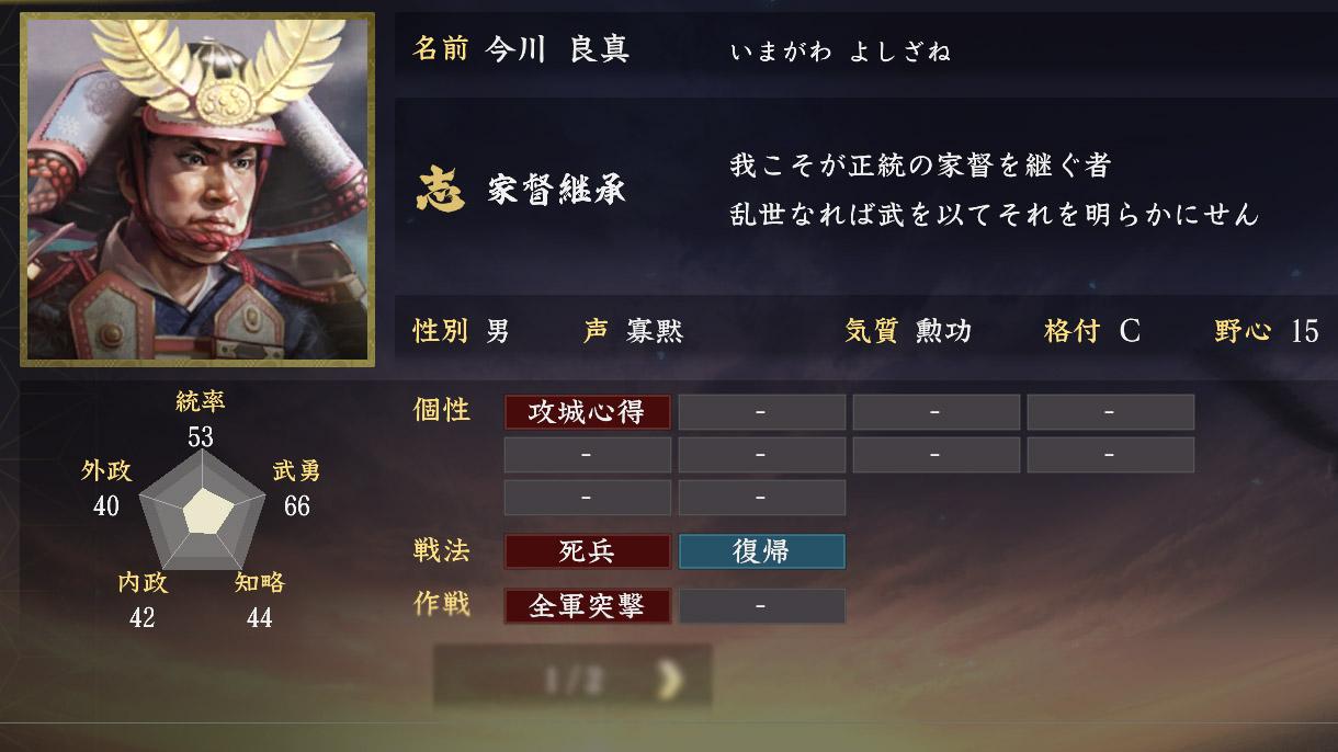 今川良真能力【信長の野望大志】