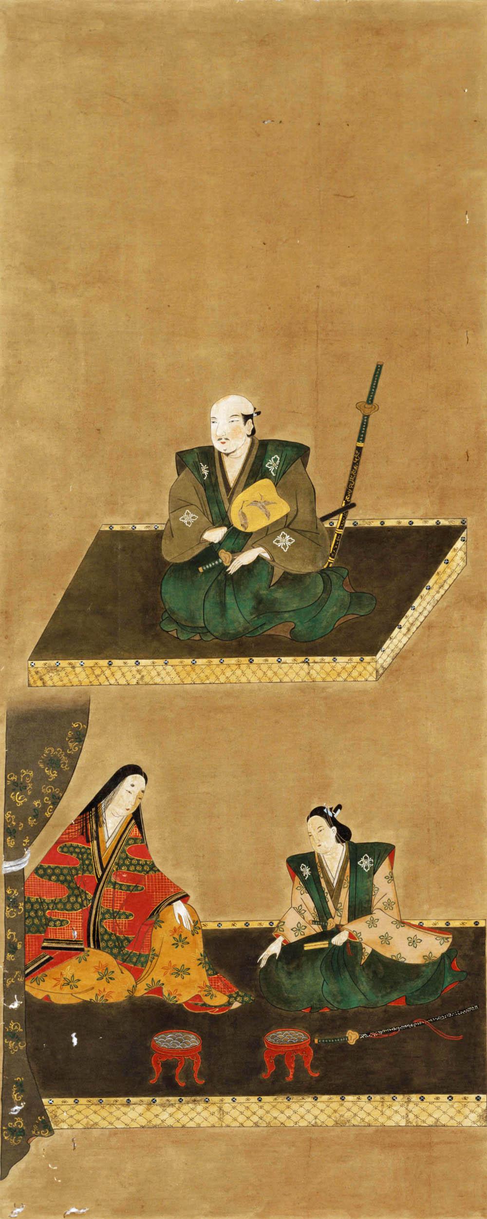 武田勝頼・北条夫人・武田信勝画像(持明院所蔵)